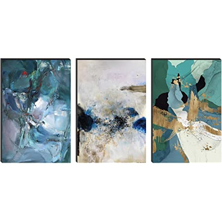 SAF Set of 3 Abstract Large Embossed MDF Framed Panel Painting 36 Inch X 18 Inch PHSX30083