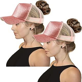 Glitter Ponytail Baseball Cap High Ponytail Hat Women Messy Buns Mesh Ponycap Dad Hat