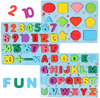 GEMEM Alphabet and Number Puzzle Set Wooden Upper Case Letter Number and Shape Learning Puzzles Board Toy, Ideal of Educat...