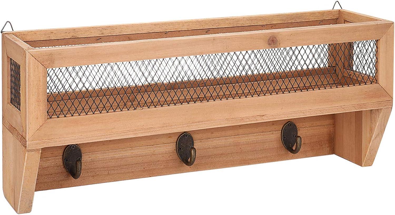 Flexzion Entryway Organizer w  Key Hooks - Key Rack w  Shelf, Rustic Wooden Wall-Mount Mail Letter Holder w  3 Coat Hooks, Metal Wire Mesh Storage Basket Hanger for Entryway, Kitchen, Office & Door