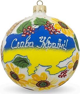 BestPysanky Glory to Ukraine Map Glass Ball Christmas Ornament 3.25 Inches