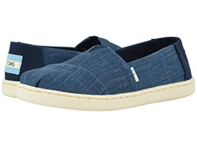 TOMS Kids Alpargata (Little Kid/Big Kid) (Majolica Blue Crosshatch Linen) Boy