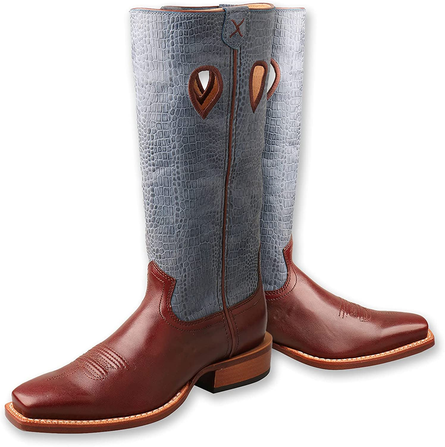 Twisted X Women's Ruff Stock Boot - Mid-calf Full-grain Leather Western Cowboy Boots with Floral Embroidery in Oiled Bomber