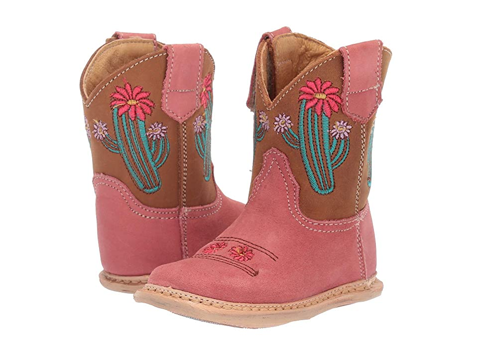 Roper Kids Cowbaby Cactus (Infant/Toddler) (Coral Vamp/Tan Shaft/Cactus Embroidery) Cowboy Boots