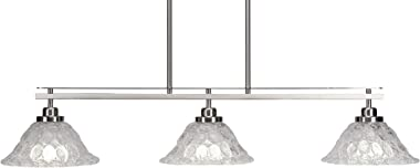 "Toltec Lighting 2636-BN-431 Odyssey 3 Island Light Shown in Brushed Nickel Finish with 10"" Italian Bubble Glass, Brushed Nickel Finish"