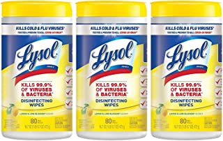 Lysol, Disinfecting Wipes, White, Lemon Lime, 80 Count (Pack of 3), 240 Count
