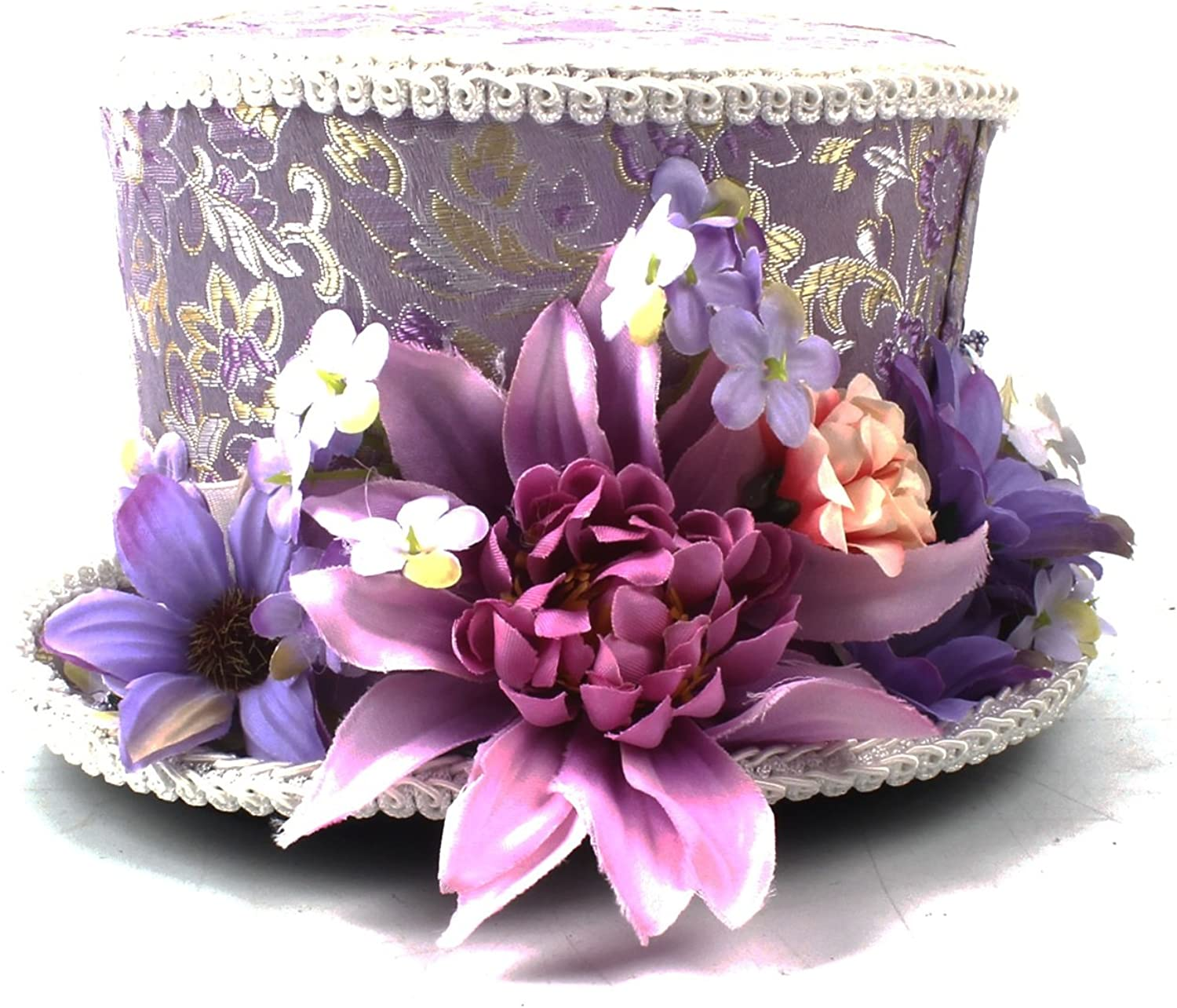 Brand New Kentucky Derby Mini Top Hat, Purple and Cream flower mini top hat Mad Hatter Hat