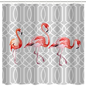 Shower Curtain Flamingo Kissing Animal Love Themed Pink 84 Inches Extra Long