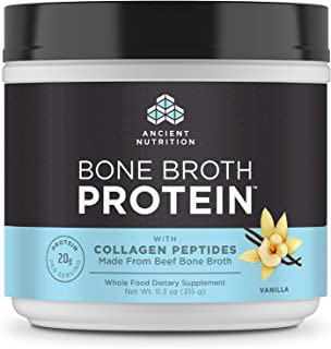 Ancient Nutrition Bone Broth Protein - Vanilla, Beef Bone Broth Collagen Peptides Made from Pasture Raised Beef, Supports ...