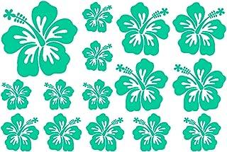 Samunshi® Hibiskus Aufkleber Creativ Set Hibiskusblüten in 5 Größen und 25 Farben (60x40cm türkis)