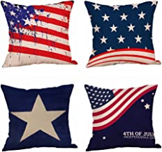 Set of 4 Patriotic American Flag July 4th Inspired Throw Pillow Covers,Stars and Stripes Vintage USA Flag Cotton Linen Pillow Cases Cushion Covers Square 18X18 Inch (Style 4)