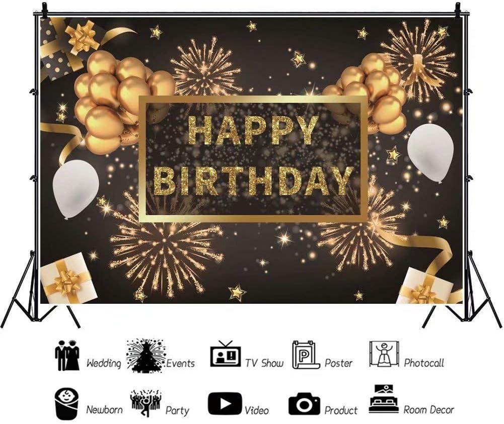 DaShan 14x10ft Happy Birthday Backdrop Women Lady Men Black Golden Glitter Birthday Party Balloons Fireworks Photography Background Birthday Party Decor Cake Smash Table Banner Photo Props