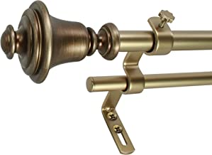 """Decopolitan 28749-26AVB Bell 5/8"""" Double Curtain Rod Set, 26 to 48 Inches, Vintage Brass"""