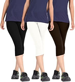 ROOLIUMS ® (Brand Factory Outlet Womens Cotton Capri Combo Pack of 3, 4 Way, 190 GSM - Free Size (Black, White, Dark Brown)