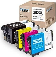 TEINO Remanufactured Ink Cartridges Replacement for Epson 252 252XL 252 XL use with Workforce WF-7710 WF-3640 WF-7720 WF-3620 WF-7620 WF-7610 WF-7210 WF-7110 (Black, Cyan, Magenta, Yellow, 4-Pack)