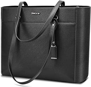 Handbags Up To 15.6 '' Laptop For Women,OSOCE Office Bags Briefcase,Laptop Tote Case For Women With Charm(Black)