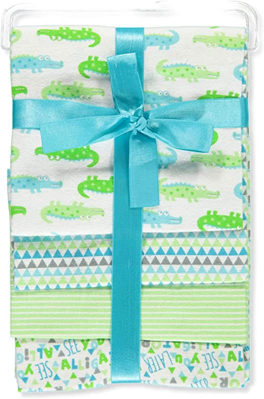 Zak And Zoey Lovable And Cozy 4 Pack Receiving Baby Blankets 100 Cotton 26 X 26 Alligator