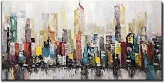 Asdam Art City Wall Art,24x48 inch Hand Painted New York Canvas Oil Paintings Cityscape Artwork Wall Picture for Living Room Framed Green and Red Colorful