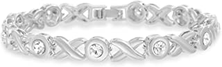 Fashion Tennis Bracelet for Women Made with Swarovski Crystals in Rhodium Plated Brass (Various Styles)