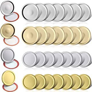 24 Pieces Canning Lids Jar Lids Regular Mouth and Wide Mouth Jar Tinplate Split Sealing Cover with Silicone Seals Rings Ro...