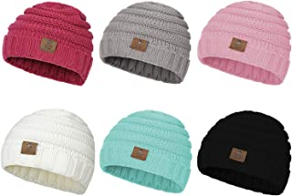 Zando Winter Baby Beanie Hat Cute Soft Warm Knitted Beanies Infant Toddler Cozy Cap for Boys Girls E 6 Pack Mix Color D One Size(6-48 months)