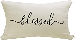 """Best Meekio Farmhouse Pillow Covers with Blessed Quote 12"""" x 20"""" Farmhouse Rustic Décor Lumbar Pillow Covers with Saying Housewarming Gifts Family Room Décor Review"""