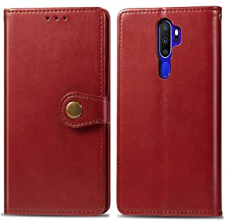 For OPPO A5 2020 / A9 2020 Retro Solid Color Leather Buckle Phone Case with Lanyard & Photo Frame & Card Slot & Wallet & Stand Function New (Black) Dualn (Color : Red)