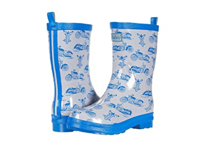 Hatley Kids Motorcycles Shiny Rain Boots (Toddler/Little Kid) (Silver) Boys Shoes