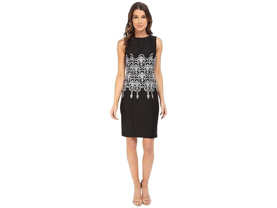 Adrianna Papell Embroidered Waist Sheath Dress (Black/White) Women
