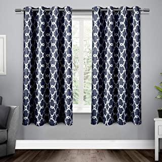 Exclusive Home Curtains Gates Sateen Blackout Thermal Window Curtain Panel Pair with Grommet Top, 52x63, Peacoat Blue, 2 Piece