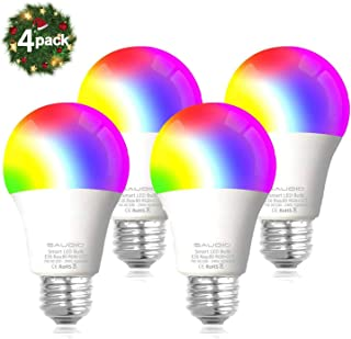 Smart WiFi Alexa Light Bulbs, SAUDIO LED RGB Color Changing Bulbs, Compatible with Siri,Alexa,IFTTT and Google Home Assistant, No Hub Required, A19 E26 Multicolor 4 Pack