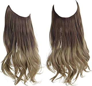 SARLA Ombre Halo Hair Extension Brown to Ash Blonde Hidden Wire Headband Curly Long Synthetic Hairpiece 18 Inch 4.2 Oz for...
