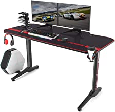 Vitesse 55 inch Gaming Desk T Shaped Computer Desk with Free Large Mouse pad, Racing Style Professional Gamer Game Station with USB Gaming Handle Rack, Cup Holder & Headphone Hook (Black)