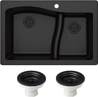 Kraus KGD-442BLACK-PST1-BL Quarza 33-inch Dual Mount 60/40 Double Bowl Granite Kitchen Sink, Black