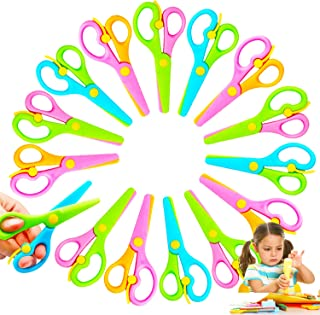 15 Pcs Plastic Safety Scissors,Pre-School Training Scissors,Child Craft Scissors with Ergonomic Handle for Kids Paper-Cut ...