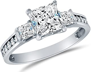 Solid 925 Sterling Silver CZ Cubic Zirconia 3 Three Stone Engagement Ring - Princess Cut Solitaire with Round Side Stones ...