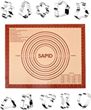 "Sapid Cookies Cutters Mold Silicone Baking Mat Set, Stainless Steel Biscuit Cutter with Christmas, Animals Shapes, Non-Stick Pastry Mats with Measurements (16""×20"") for Pie, Dough, Fondant"