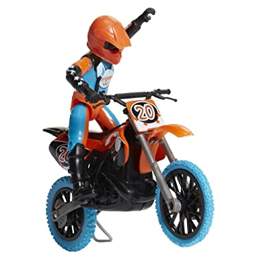 MXS Motocross Bike Toys Moto Extreme Sports, Bike & Rider with SFX Sounds by Jakks Pacific Action Figure Playsets - #20 Orange & Blue Rider, for Kids Ages 5+, (Model: 405052)