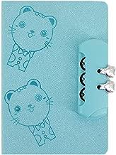 Sun Kea 32K Cartoon Cat Notebook Password Locked Diary Leather Cover Journal,Blue
