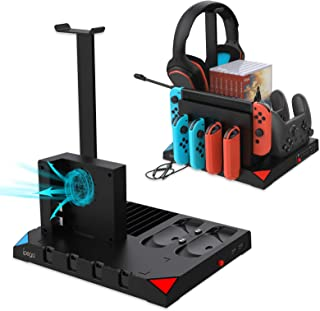 Cooling Charging Dock for Nintendo Switch Pro Controller and JoyCons with Cooling Fan, Multifunctional Storage Rack Chargi...
