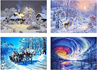 4 Pack Winter Snow Scenery 5D Diamond Painting Kits Xmas Decoration Full Drill Rhinestone Sets for Adults and Beginner Art Craft Home Decoration, 12 x 16 inch