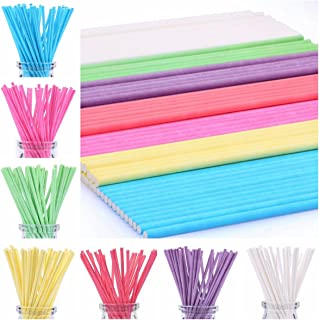 210ct 6 inch Colored Lollipop Sticks 7 Colors for Cake Pops Apple Candy (Rose-red, Blue, Yellow, Purple, Green, Watermelon...
