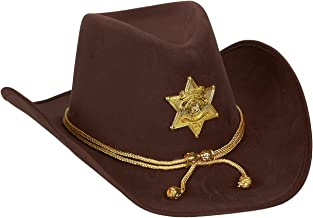 Juvale Novelty Felt Cowboy Sheriff's Hat - Fun Party Outfit Costume with Gold Braid for Halloween, Office Parties