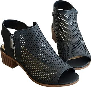 Ruanyu Womens Perforated Peep Toe Sandals Cutout Chunky Block Heel Slingback Ankle Boots