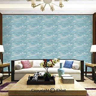 Mural Wall Art Photo Decor Wall Mural for Living Room or Bedroom,Japanese Style Oceanic Waves Splashing Water Swirls Aquatic Artful Pattern,Home Decor - 100x144 inches