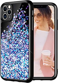 Caka Case for iPhone 11 Pro Glitter Case Starry Night Liquid Bling Sparkle Cute Luxury Fashion Flowing Glitter Soft TPU Black Women Girls Phone Case for iPhone 11 Pro (5.8 inch)(Blue Purple)