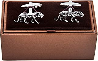 MRCUFF Tiger Pair Cufflinks in a Presentation Gift Box & Polishing Cloth