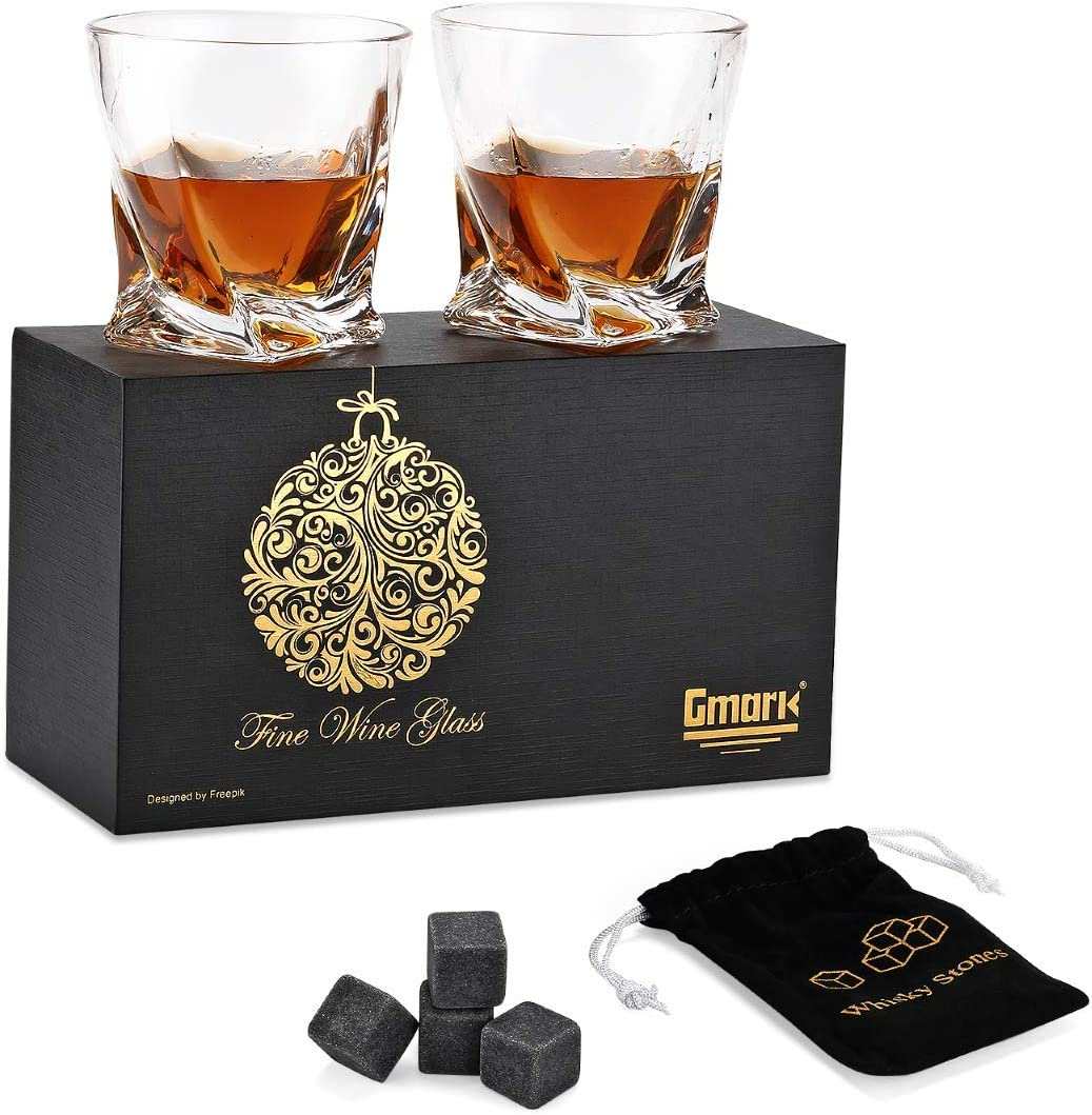 Gmark Special price Twist Design depot Whiskey Glasses 10oz 2 4 with Set Granite of