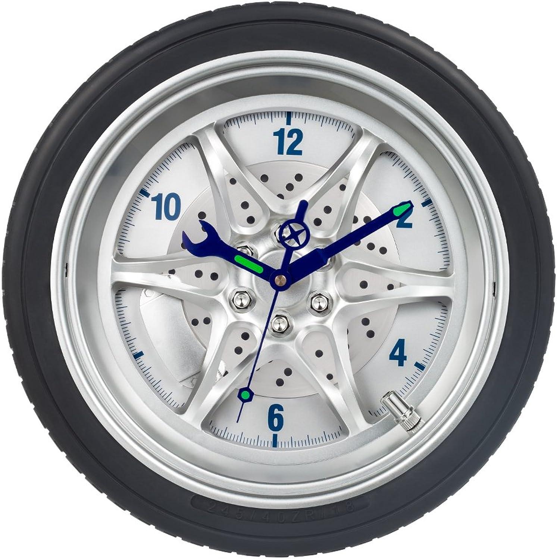 SkyNature Wall Decor Clock,14 Inch Tire Rim Gear Time Home Decoration, Modern Technology Wall Art Clock,Night Light Tool Gadgets Hands Silent NonTicking Battery Operated Clock