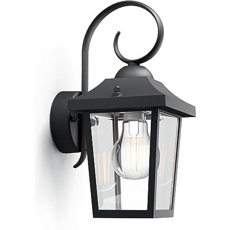 Philips myGarden Buzzard Vintage Wall Lantern, for Outdoor, Home, Garden Lighting. [Black} Requires 1 x 60W E27 Bulb